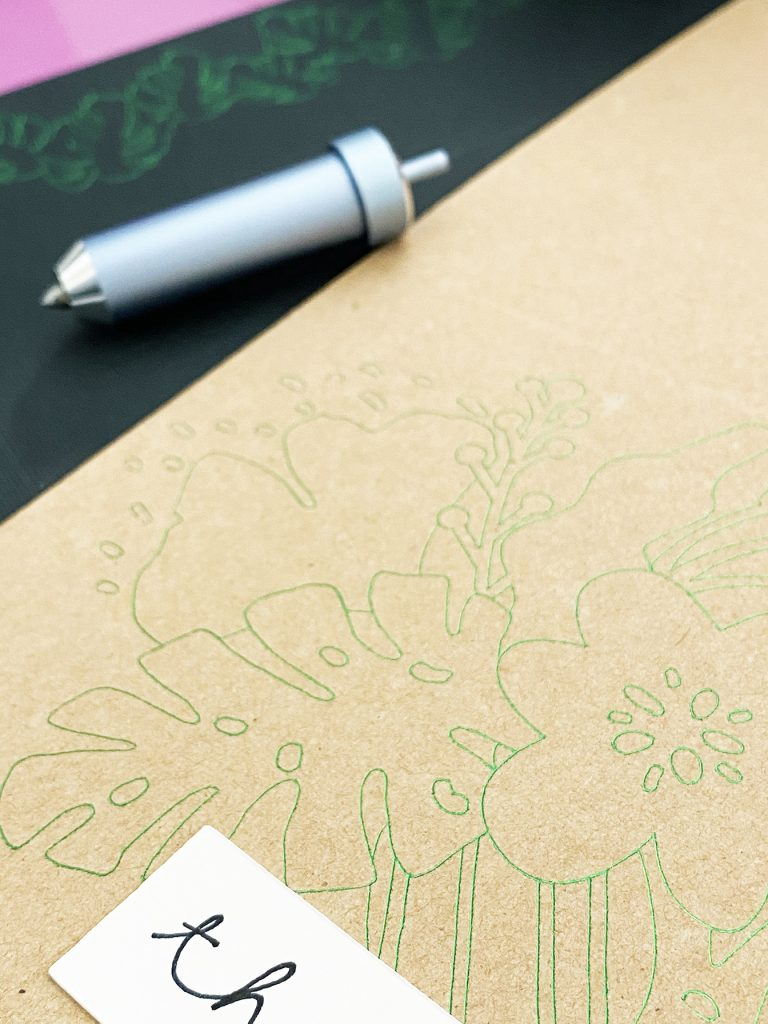 Green Foil Flowers on a Thank You Card Made with a Cricut