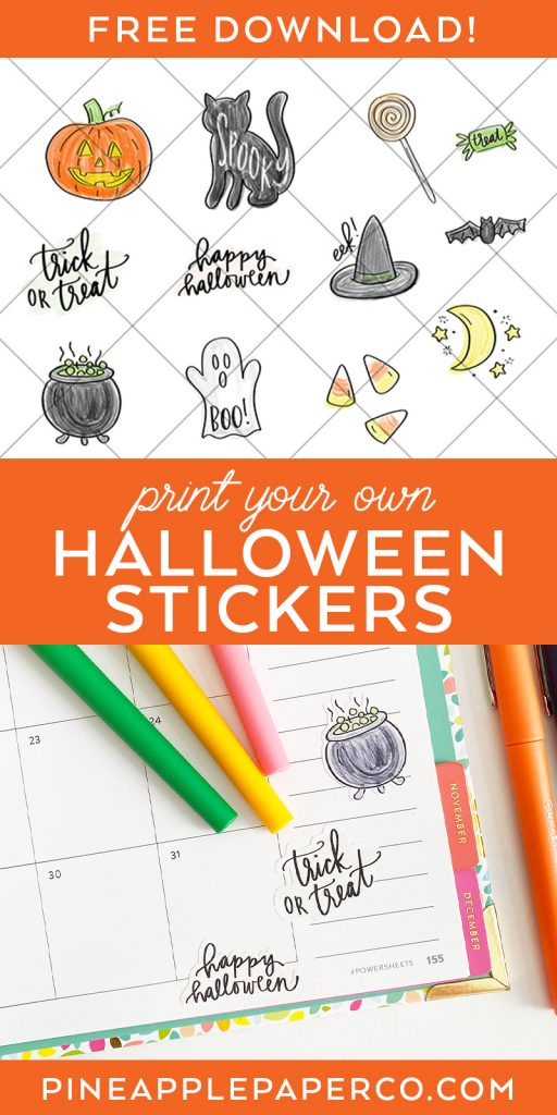 Free Printable Halloween Stickers at Pineapple Paper Co.