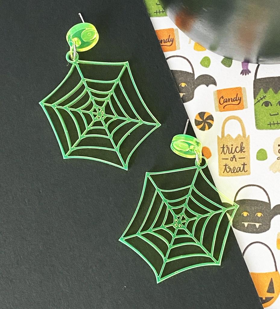DIY Laser Cut Acrylic Spiderweb Earrings