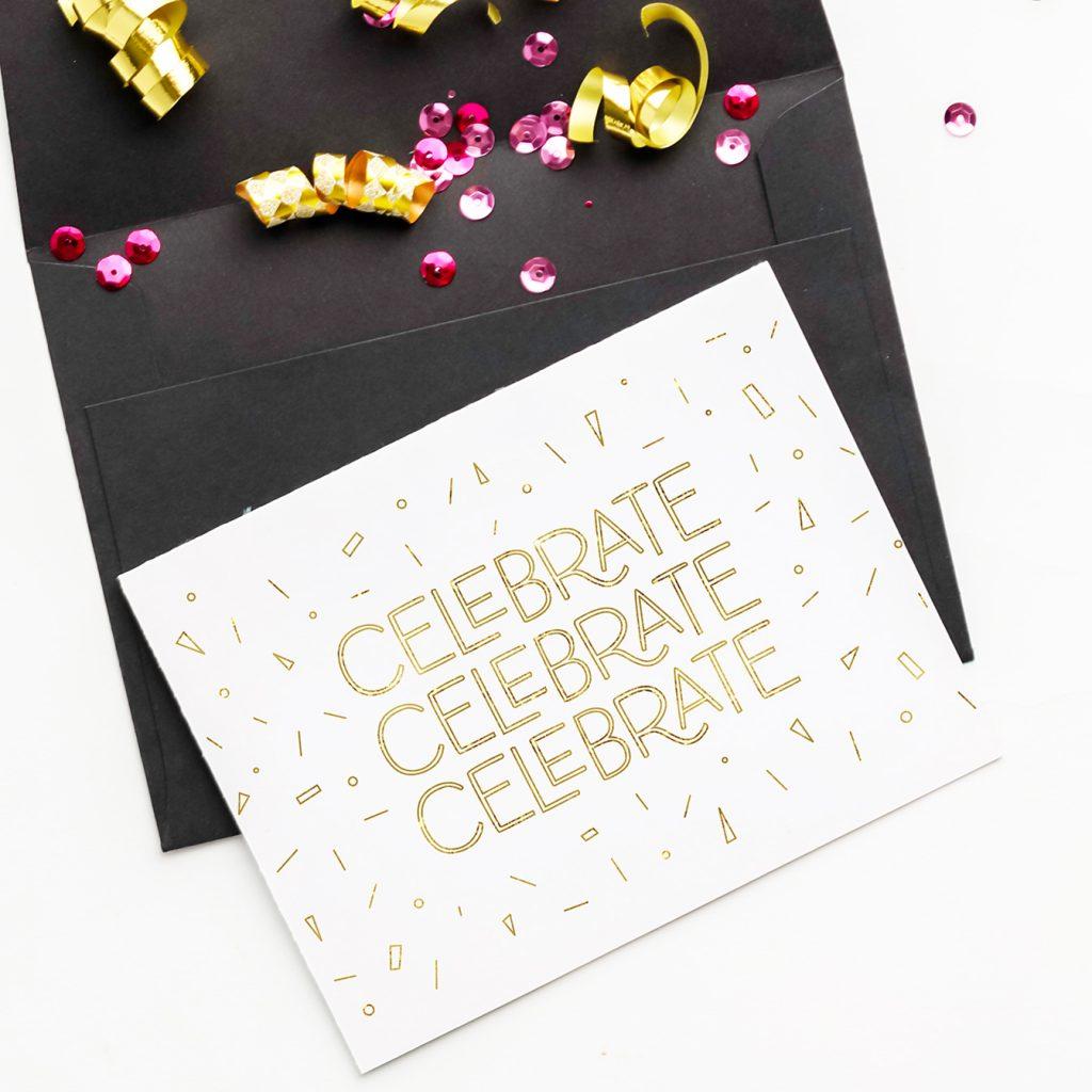 DIY Celebrate Gold Foil Birthday Card