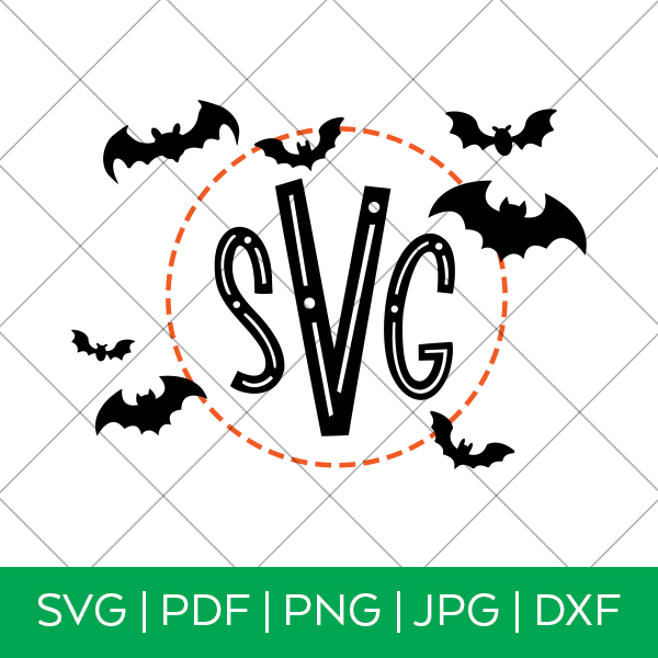 Halloween Monogram Svg File Bat Monogram Pineapple Paper Co