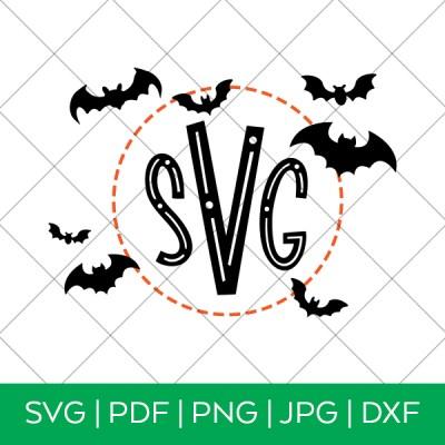 Halloween Monogram with Bats SVG