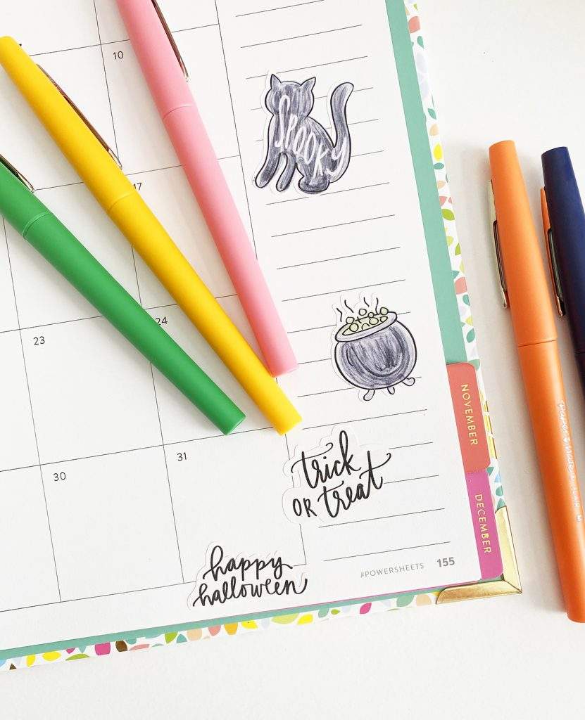 Free Printable Halloween Stickers for your Planner at Pineapple Paper Co.