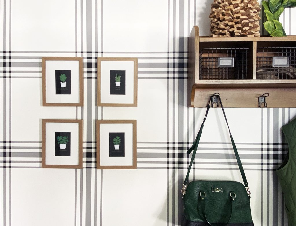 Foil Art Prints Hanging on Plaid Wall Made with Cricut Foil Transfer System