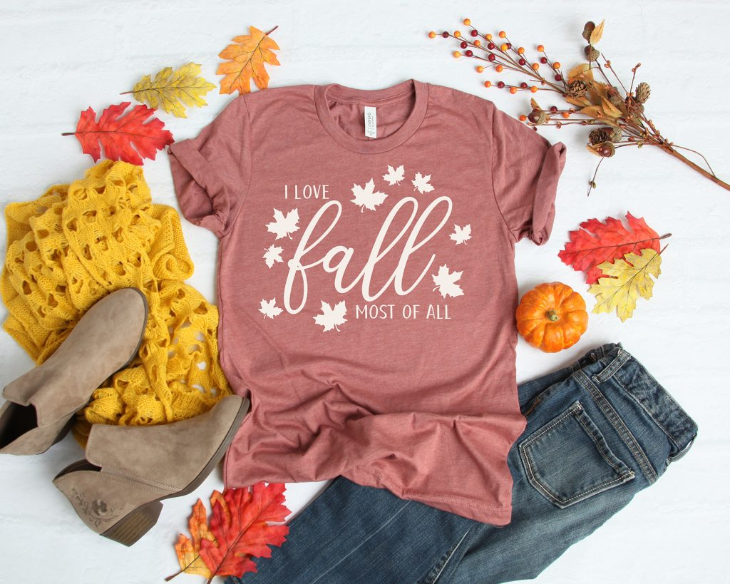 I Love Fall Most of All Shirt with Free SVG Cut File