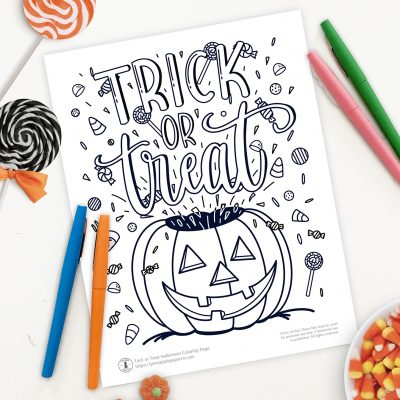 Free Halloween Trick or Treat Coloring Page