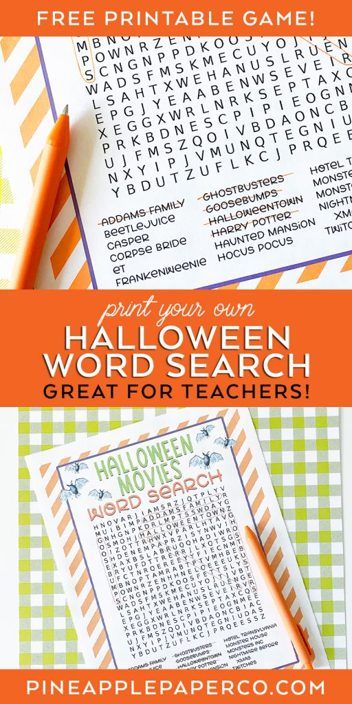 FREE Printable Halloween Word Search Puzzle Game