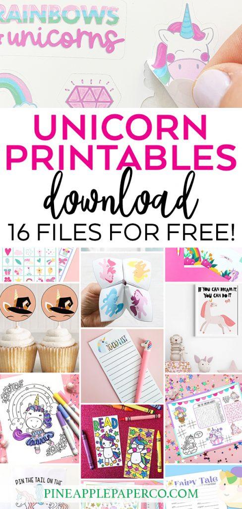 Free Printable Unicorn Stickers from Pineapple Paper Co. PLUS Free Unicorn Printables