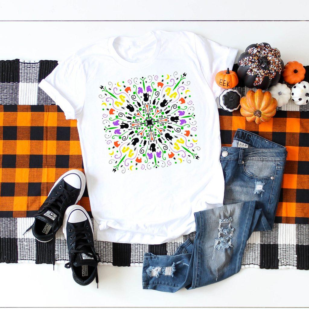 Hocus Pocus Halloween Mandala Shirt DIY with FREE SVG File