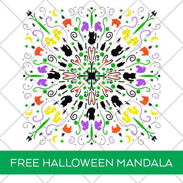 Free Hocus Pocus Halloween Mandala SVG for Cricut and Silhouette