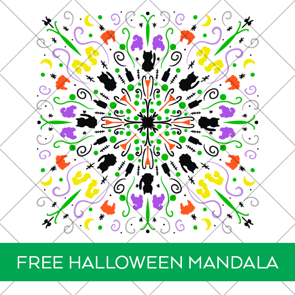 Free Hocus Pocus Halloween Mandala SVG for Cricut and Silhouette