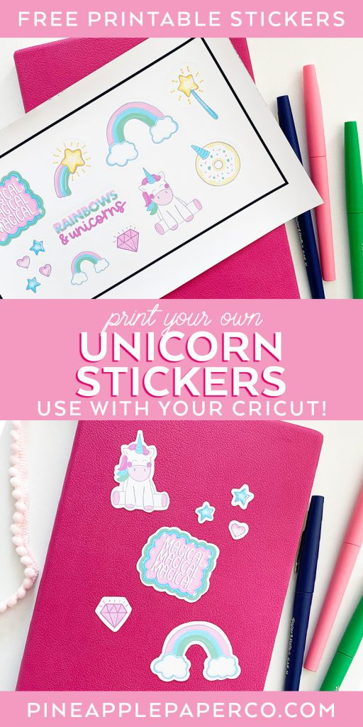 Free Printable Unicorn Stickers from Pineapple Paper Co.