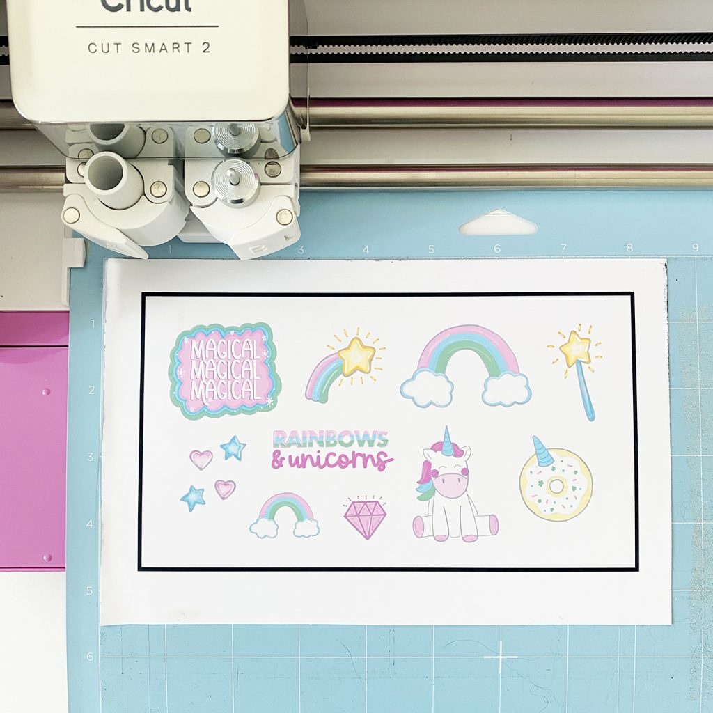 Free Printable Unicorn Stickers from Pineapple Paper Co. using Cricut Print then Cut