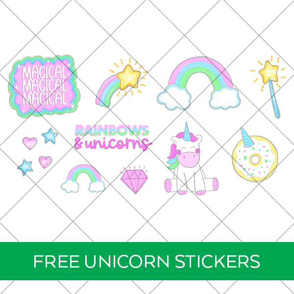 Free Printable Unicorn Stickers from Pineapple Paper Co. FREE Download