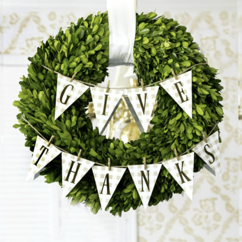 Give Thanks Gingham Banner