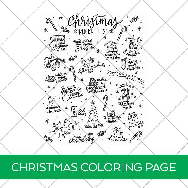 Download Free Christmas Bucket List Printable Coloring Page