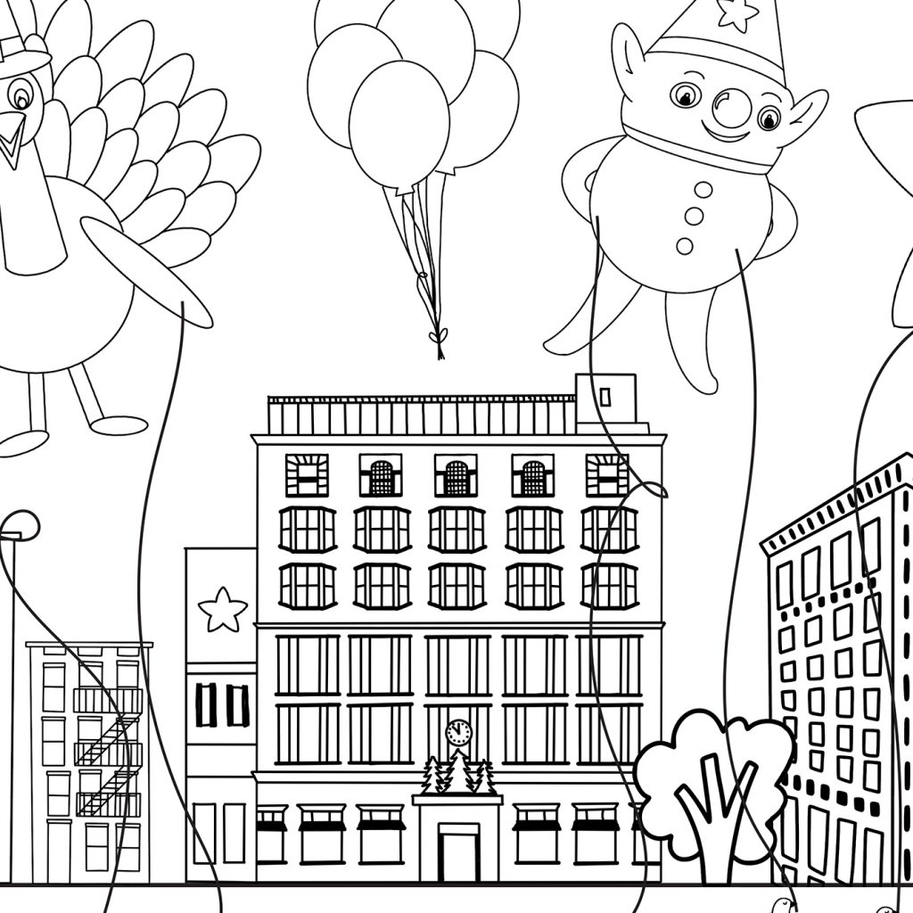 Macys Herald Square New York Sketch for Thanksgiving Printable Placemat to Color