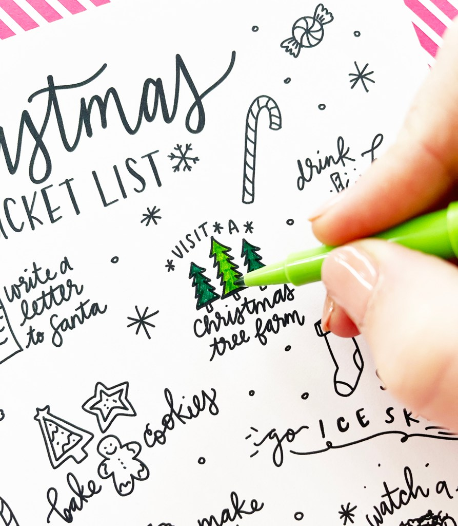 Coloring Visit a Christmas Tree Farm Christmas Bucket List Idea on Free Printable Coloring Sheet