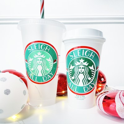 Sleigh All Day Christmas Starbucks SVG Files
