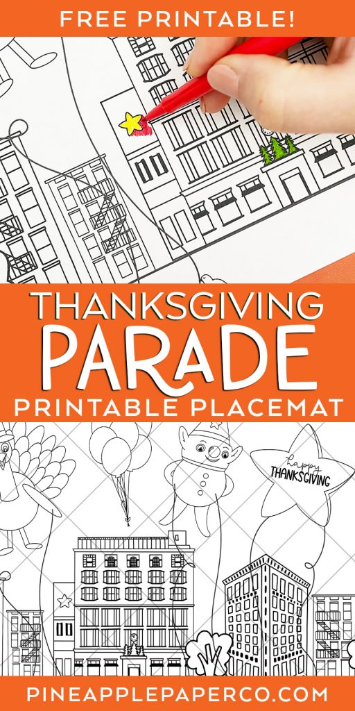 Free Macys Thanksgiving Day Parade Printable Placemat to Print and Color