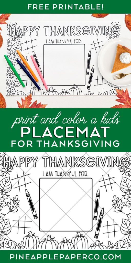 Free Coloring Page Placemat for Thanksgiving
