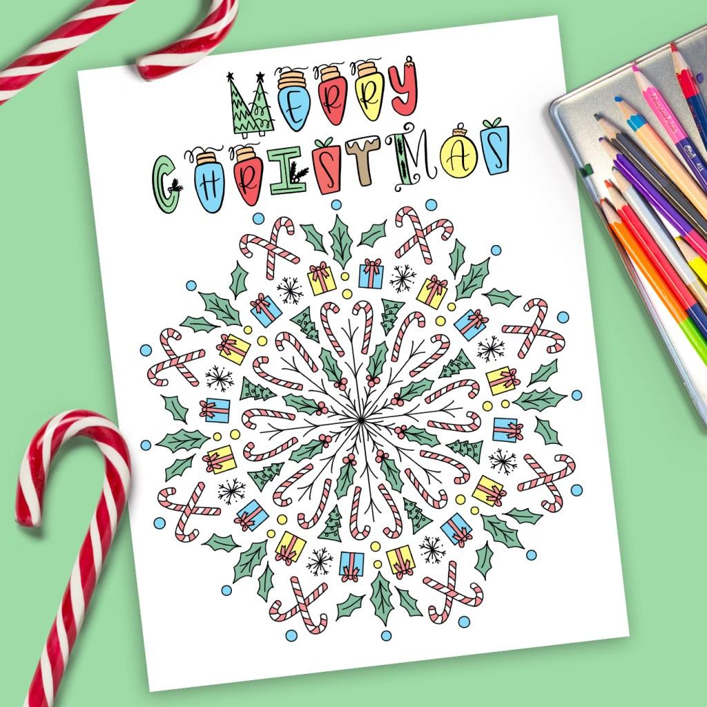 Free Christmas Mandala Coloring Page Printable