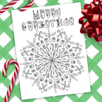 Printable Christmas Mandala Coloring Page