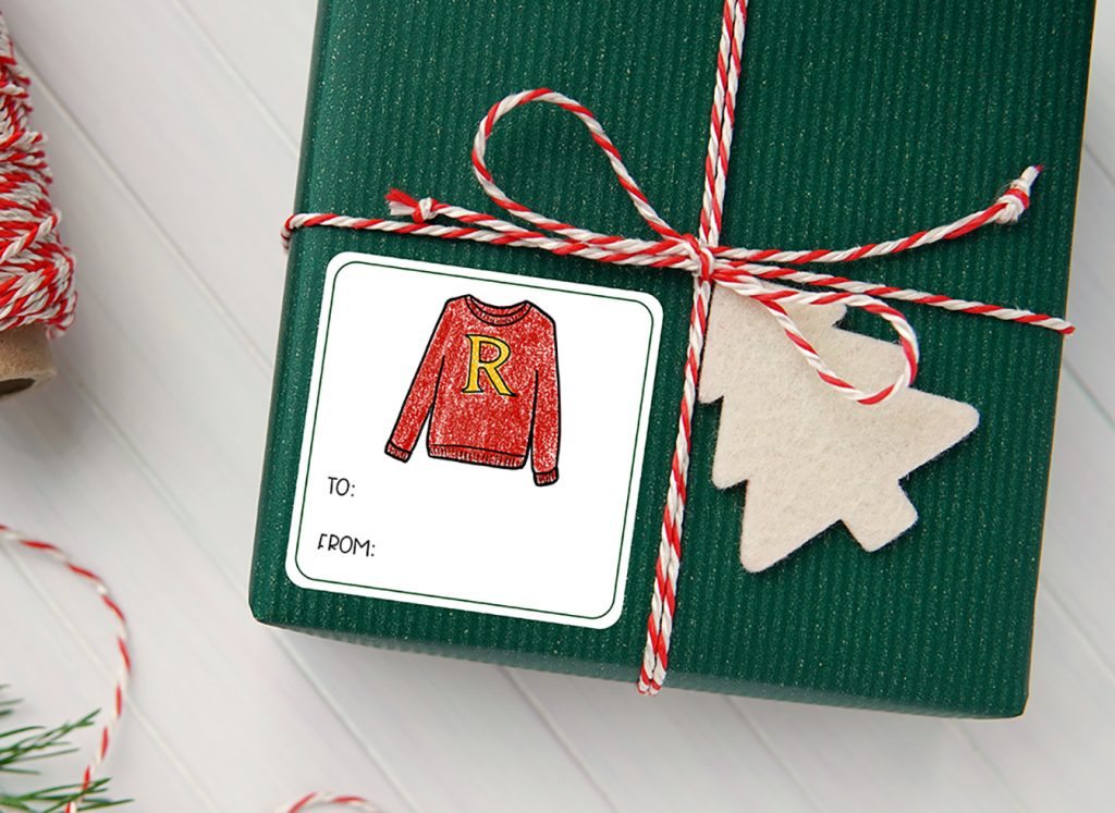 Harry Potter Christmas Sweater Printable Gift Tag Sticker