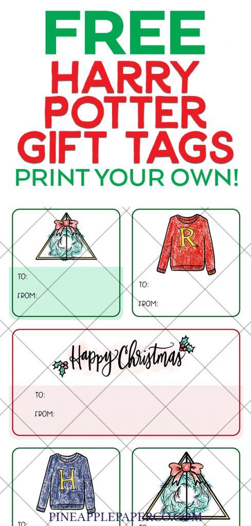 FREE Printable Christmas Harry Potter Gift Tags