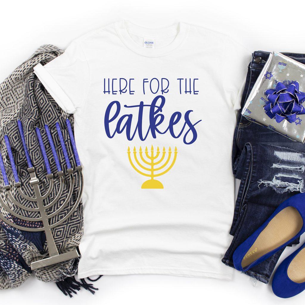 Here for the Latkes Hanukkah DIY Shirt with Free SVG