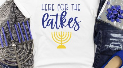 Here for the Latkes Hanukkah DIY Shirt with Free SVG
