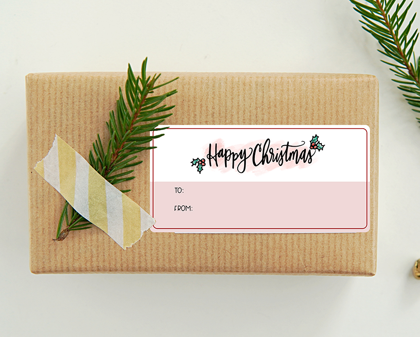 Free Printable Harry Potter Happy Christmas Gift Tag Sticker Printable