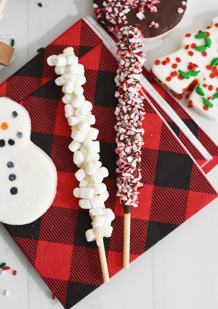 Hot Chocolate Charcuterie Board Peppermint and Marshmallow Stir Sticks