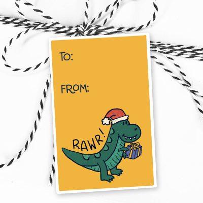 Dinosaur Christmas Gift Tag Stickers