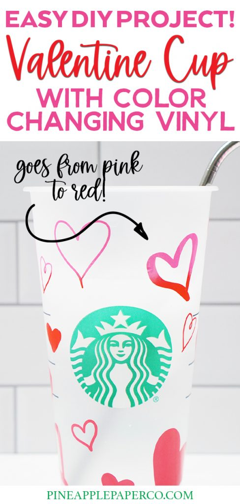 Color Changing Vinyl on Starbucks Cup with Arrow Pointing to Heart changing From Red to Pink