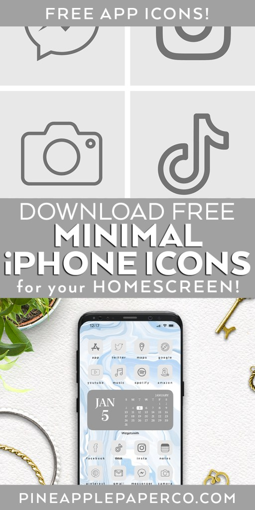 FREE Minimal Aesthetic App Logos for iPhone