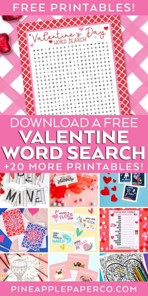 Valentine's Day Word Search and Free Valentine Printables