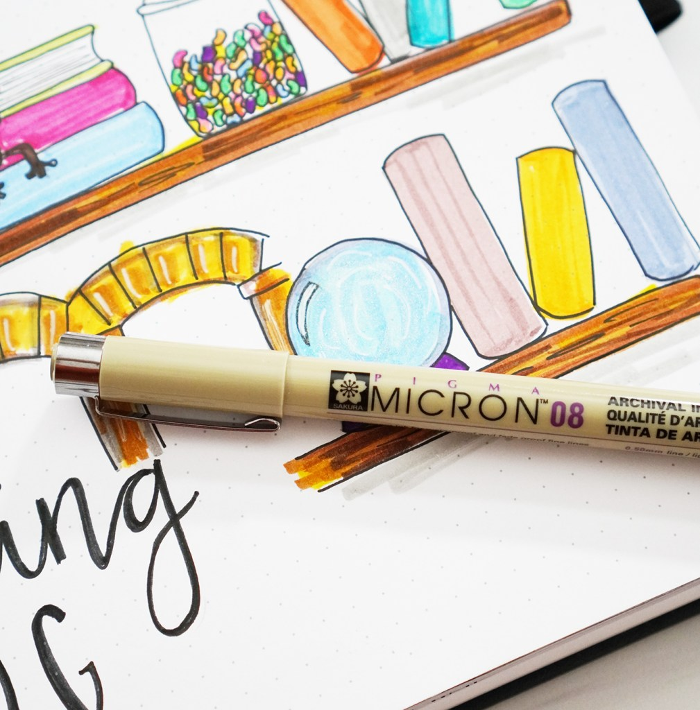 Micron Pen for Outlining in Bullet Journal