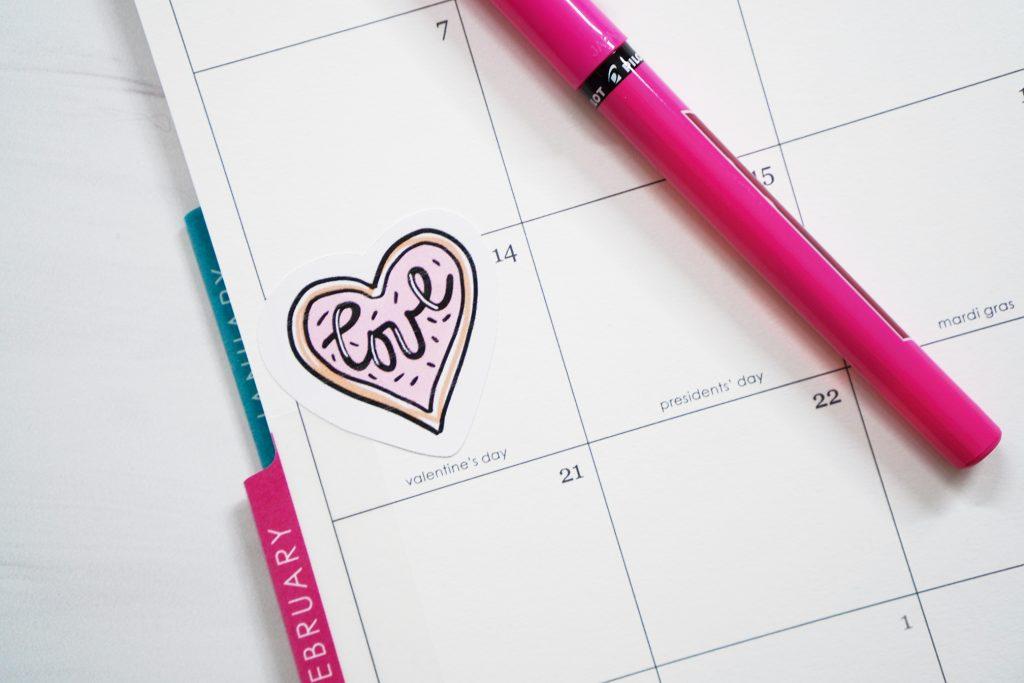 Printable Love Valentine Sticker in Planner