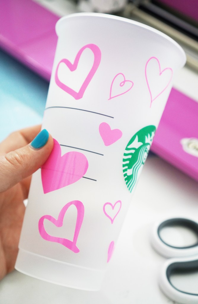 Pink Color Changing Vinyl Hearts on Starbucks Plastic Cup