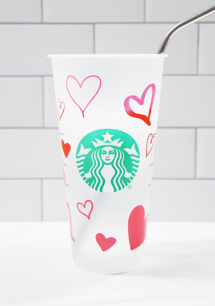 Color Changing Vinyl on Starbucks Cold Plastic Cup with Heart Changing from Pink to Red