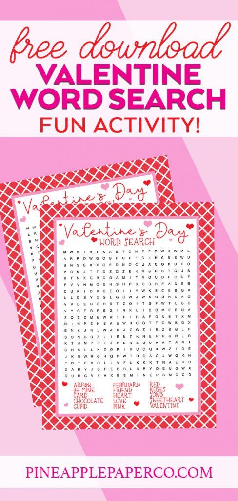 Free Valentine Word Search Printable