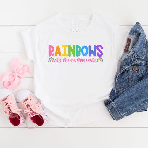 Rainbows Are My Favorite Color Free SVG on a White Shirt with Pink Shoes and Jean Jacket