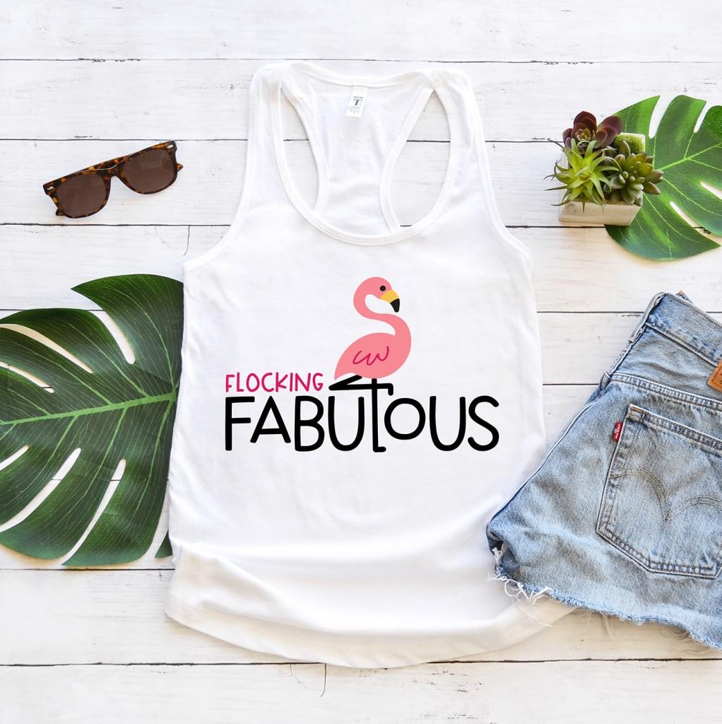 Flocking Fabulous Tank Top Made with Cricut Free Flamingo SVG