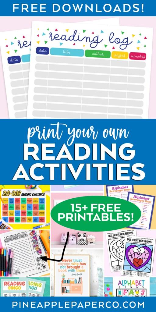 Free Printable Reading Log plus 15 more Free Reading Printables