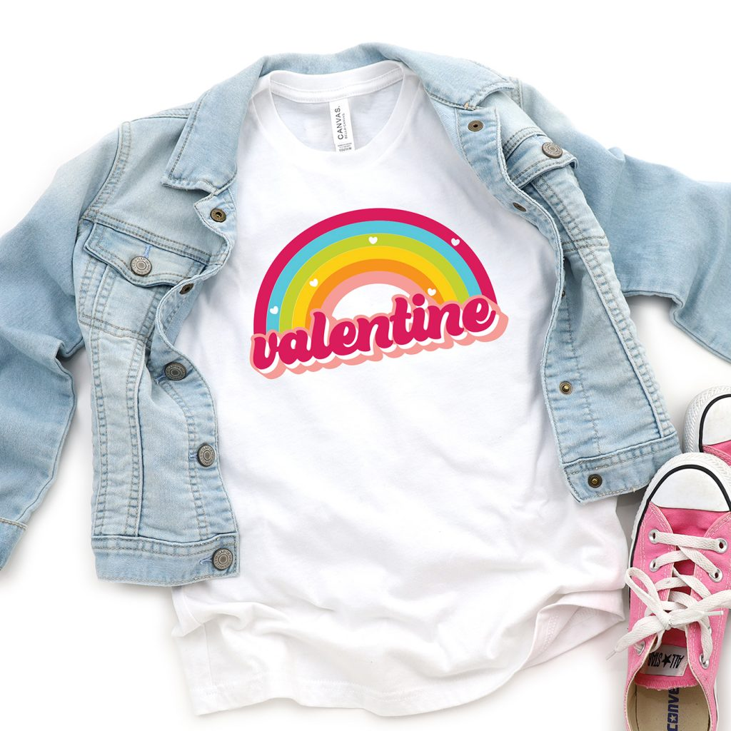 Rainbow Valentine Shirt for Girl with denim jacket and pink converse using Free SVG