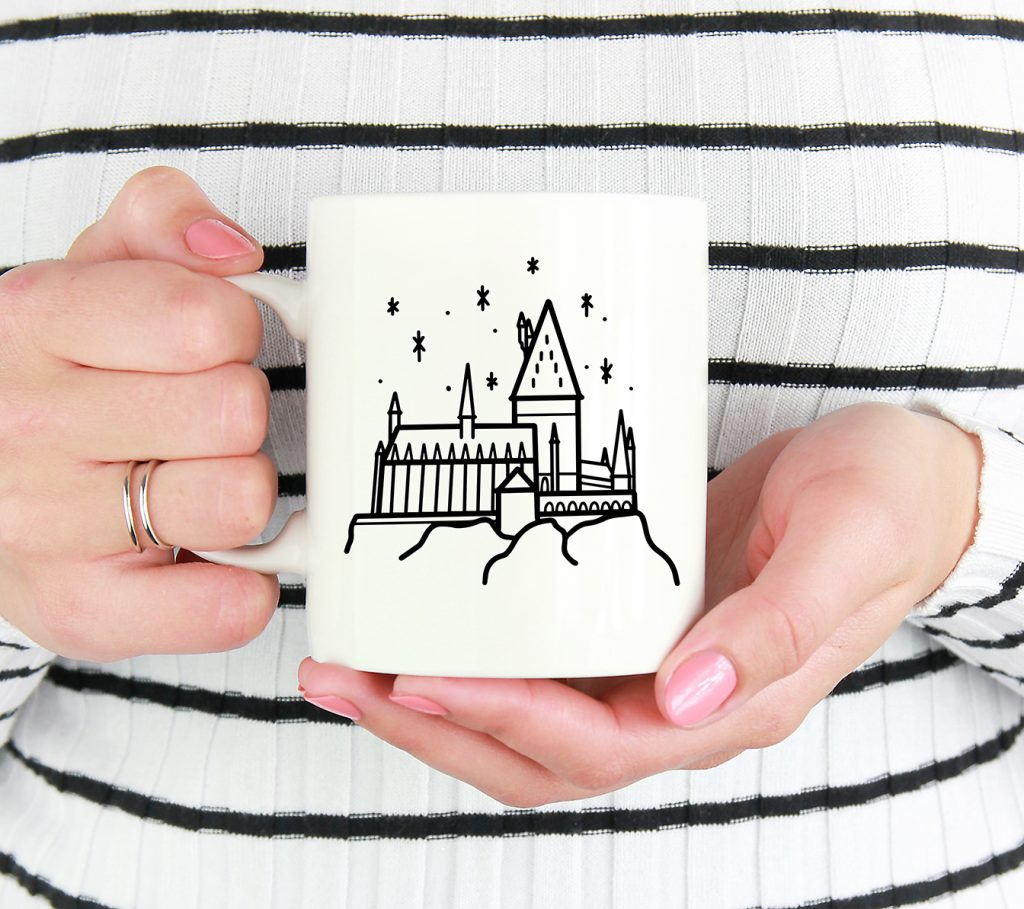 Hogwarts Castle SVG in Black Vinyl on White Mug