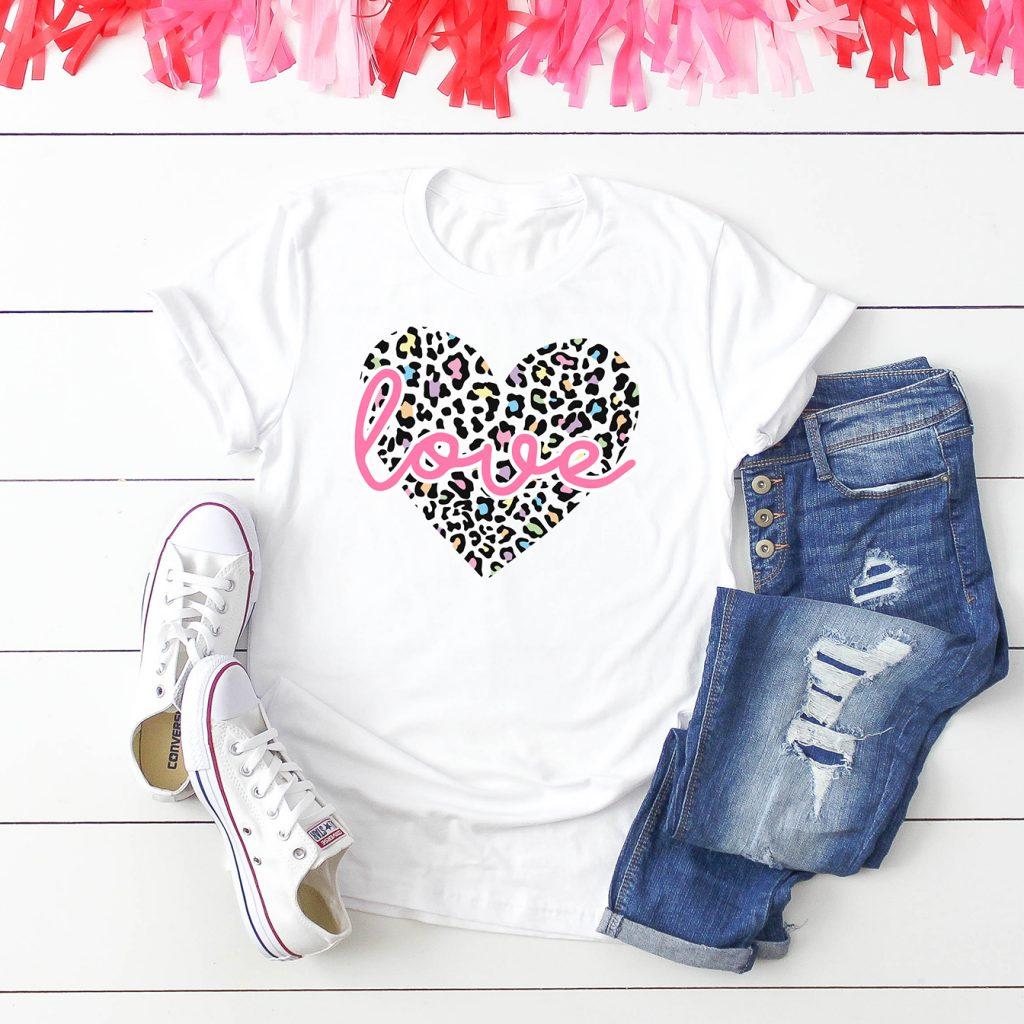 Leopard Print Heart SVG on White Shirt for Valentine's Day