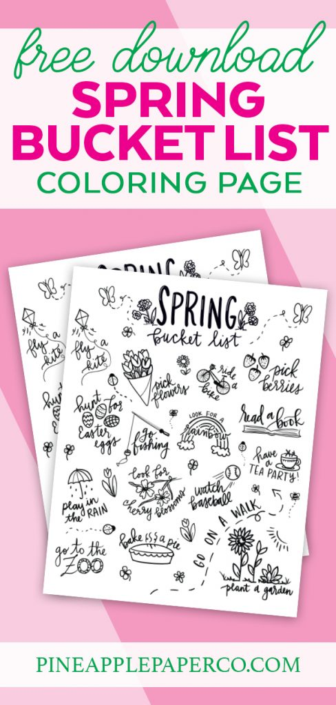 Spring Bucket List Printable Coloring Page from Pineapple Paper Co.