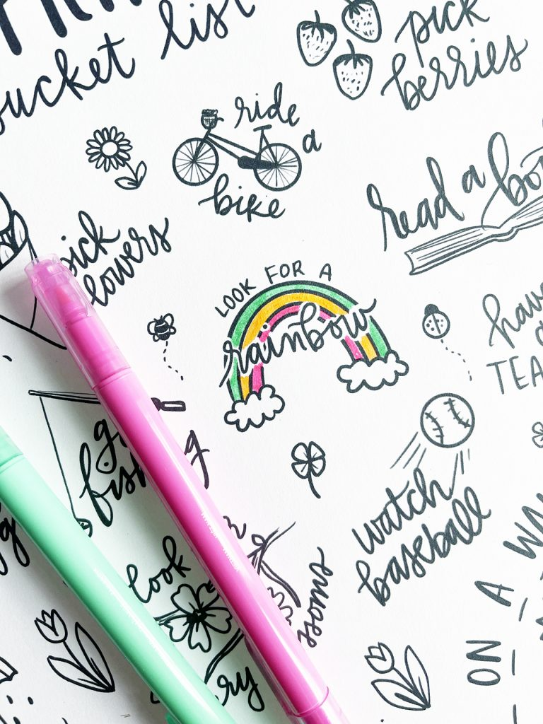Spring Bucket List with Markers and Rainbow